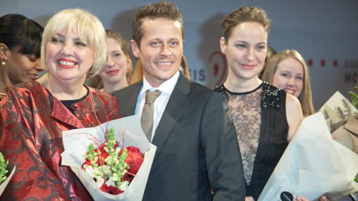 Claudia Roth und roman Knizka und Jeanett Hain - Deutscher Hörfilmpreis 2015 Gregor Anthes